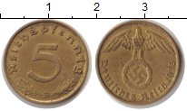 Изображение Монеты Третий Рейх 5 пфеннигов 1938 Латунь XF 5 рейхспфеннигов. Тр