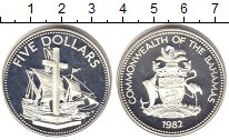 Изображение Монеты Багамские острова 5 долларов 1982 Серебро Proof- Мемориал Колумба,кор