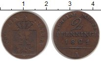 Изображение Монеты Пруссия 2 пфеннига 1821 Медь VF