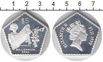 Изображение Монеты Фиджи 5 долларов 1999 Серебро Proof- Елизавета II. Миллен