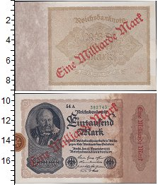 Изображение Боны Веймарская республика 1 000 000 марок 1923  XF Надпечатка на купюре