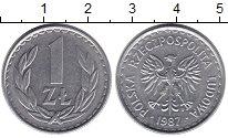 Изображение Барахолка Польша 1 злотый 1987 Алюминий XF