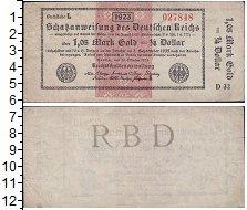 Изображение Боны Веймарская республика чек 1923  XF