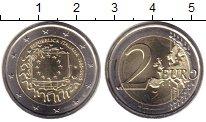 Изображение Мелочь Италия 2 евро 2015 Биметалл UNC- 30 лет флагу Европы.