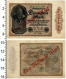 Банкнота Веймарская республика 1 000 000 марок 1923 XF фото