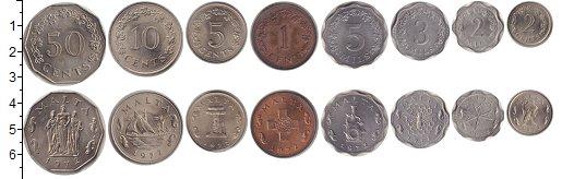 Изображение Наборы монет Мальта Мальта 1972 1972 Медно-никель UNC В наборе 8 монет ном