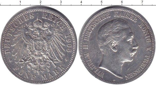 Картинка Монеты Пруссия 5 марок Серебро 1908