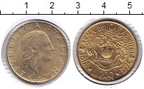 Изображение Монеты Италия 200 лир 1994 Медь XF 180 лет службе караб