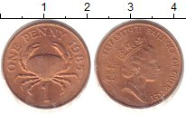 Изображение Монеты Гернси 1 пенни 1985 Медь UNC- Елизавета II. Краб