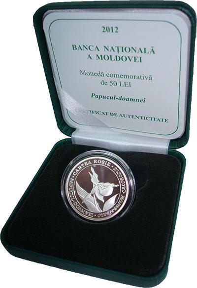 Изображение Подарочные монеты Молдавия Венерин башмачок 2012 Серебро Proof Памятная монета номи