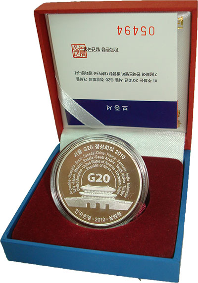 Изображение Подарочные наборы Южная Корея Саммит G-20 в Сеуле 2010 Серебро Proof Монета номиналом 300