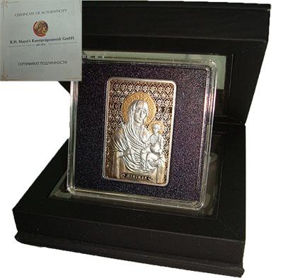 Изображение Подарочные монеты Беларусь Икона Пресвятой Богородицы Минская 2010 Серебро Proof Монета номиналом 20
