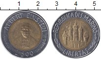 Изображение Мелочь Сан-Марино 500 лир 1984 Биметалл XF Альберт Энштейн.