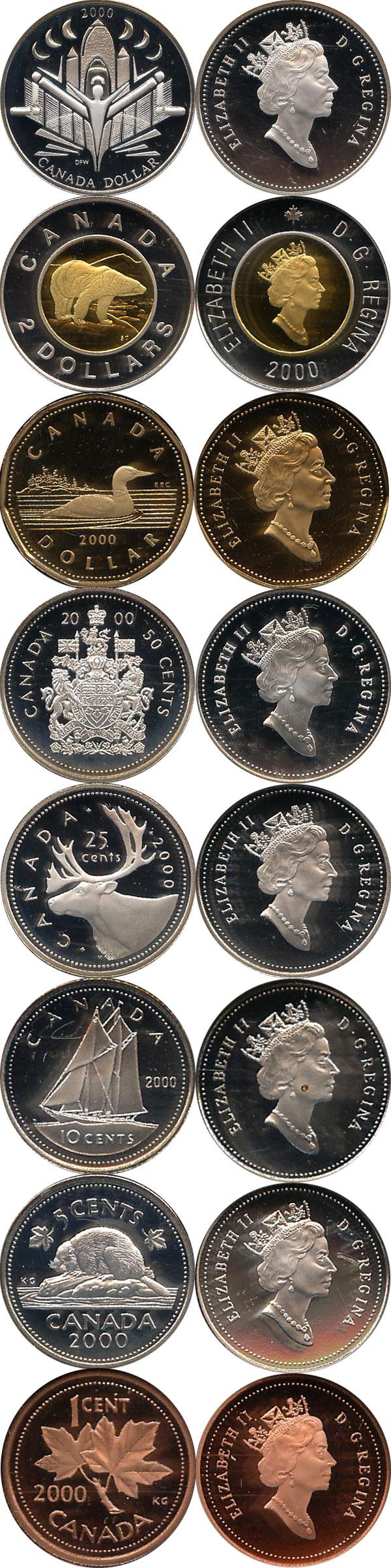 Картинка Подарочные монеты Канада Набор 2000 года  2000