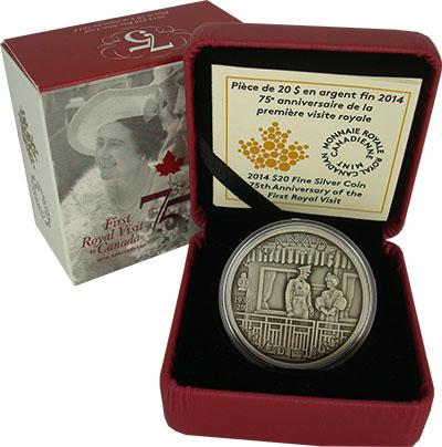 Изображение Подарочные монеты Канада Королевский визит 2014 Серебро BUNC Монета посвящена 75-