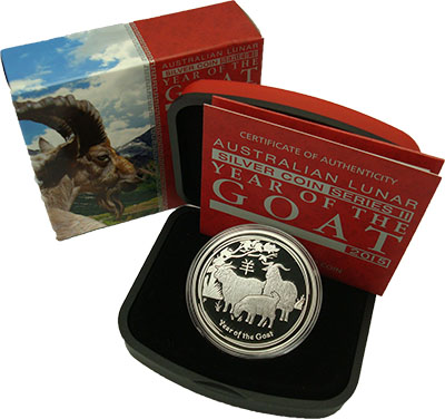 Изображение Подарочные монеты Австралия Год козы 2015 Серебро Proof