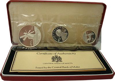 Изображение Подарочные монеты Мальта Набор 1977 года 1977 Серебро Proof Набор памятных монет