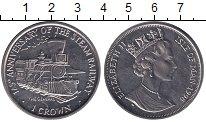 Изображение Монеты Остров Мэн 1 крона 1998 Медно-никель UNC `125 лет Железным до