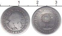 Изображение Монеты Коста-Рика 1/2 реала 0 Серебро VF Надчеканка на 1/2 ре