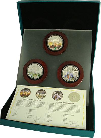 Изображение Подарочные монеты Ниуэ Волшебные цветы: Ирисы 2012 Серебро Proof Набор из трёх однодо