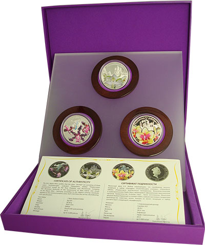Изображение Подарочные монеты Ниуэ Волшебные цветы: Орхидеи 2013 Серебро Proof Набор из трёх однодо