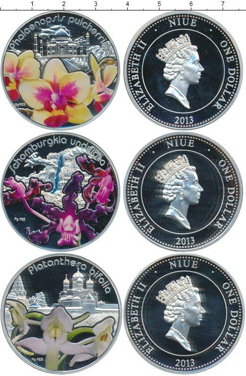 Картинка Подарочные монеты Ниуэ Волшебные цветы: Орхидеи Серебро 2013