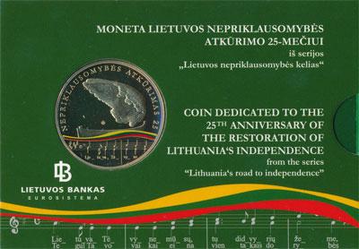 Изображение Подарочные монеты Литва Независимоть Литвы 2015  Proof Монета выпущена в че