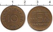 Изображение Монеты Саар 10 франков 1954 Медь XF Индустриальный пейза