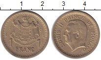 Изображение Монеты Монако 1 франк 1945 Медно-никель XF 11 - ый Князь Монако