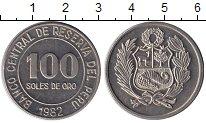 Изображение Монеты Перу 100 соль 1982 Медно-никель XF Герб Перу.