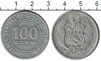 Изображение Монеты Перу 100 соль 1980 Медно-никель XF Герб Перу.