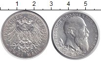 Изображение Монеты Баден 2 марки 1902 Серебро XF+