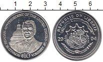 Изображение Монеты Либерия 10 долларов 2004 Медно-никель Proof- 40 -й президент США