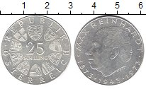 Изображение Монеты Австрия 25 шиллингов 1973 Серебро XF 100 - летие со дня р