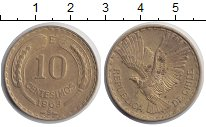Изображение Монеты Чили 10 сентесим 1963 Латунь XF Красавец кондор в по