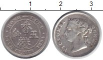 Изображение Монеты Гонконг 5 центов 1894 Серебро XF Королева Виктория.