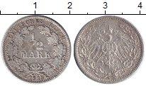 Изображение Монеты Германия 1/2 марки 1913 Серебро XF