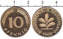 Изображение Монеты ФРГ 10 пфеннигов 1988 Латунь UNC-