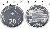 Изображение Монеты Швейцария 20 франков 2006 Серебро UNC 100 лет Почтовому ав