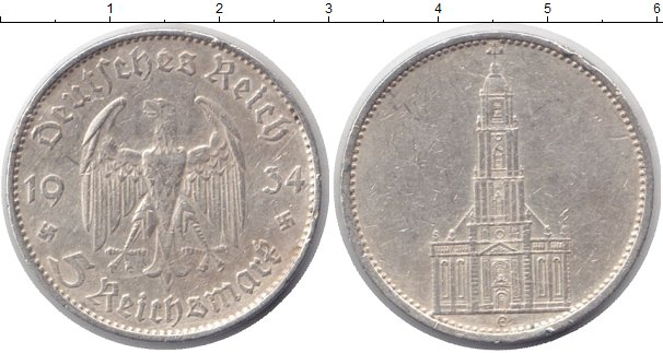 Картинка Монеты Третий Рейх 5 марок Серебро 1934