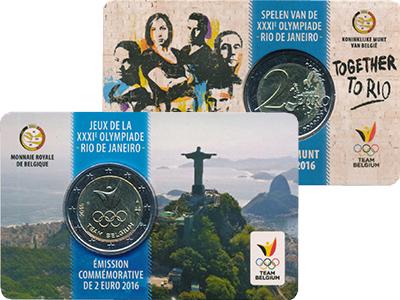 Изображение Мелочь Бельгия 2 евро 2016 Биметалл UNC Олимпийская команда