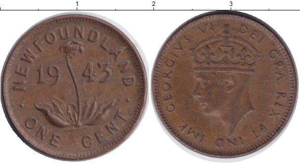 Картинка Монеты Ньюфаундленд 1 цент Медь 1943