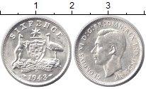 Изображение Монеты Австралия 6 пенсов 1943 Серебро XF