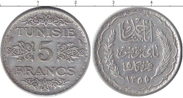 Картинка Монеты Тунис 5 франков Серебро 1936