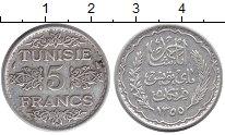 Изображение Монеты Тунис 5 франков 1936 Серебро XF