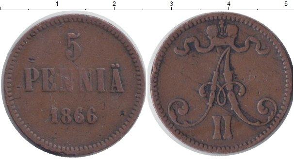 Картинка Монеты 1855 – 1881 Александр II 5 пенни Медь 1866