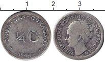 Изображение Монеты Кюрасао 1/4 гульдена 1944 Серебро XF Вильгельмина