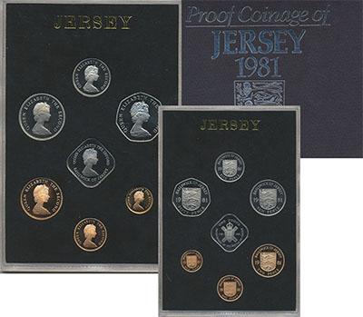 Изображение Подарочные монеты Остров Джерси Набор 1981 года 1981  Proof Набор из шести монет
