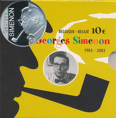 Изображение Подарочные монеты Бельгия Жорж Сименон 2003  Proof