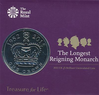 Изображение Подарочные монеты Великобритания Королева Елизавета II 2015 Медно-никель BUNC Буклет с 5-фунтовой